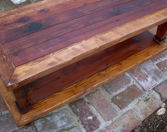 Wood Coffee Table - Handmade Furniture - Living Room - Shabby Cottage Chic - Wooden - Painted - Distressed - 45 Long x 20 Wide x 16 Tall