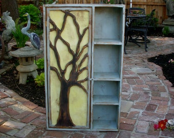 Wood Furniture - Shelf - Rustic - Oak Tree Cabinet - Artistic Furniture - Storage Shelves -  French Country