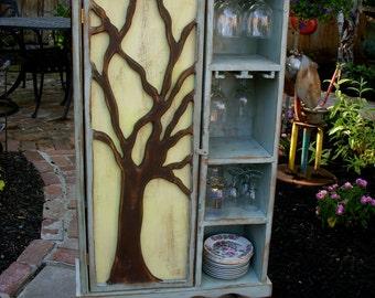 Wood Wine Rack - Rustic Furniture - Oak Tree Cabinet - Artistic - Storage - French Country - Gift Ideas - Artsy Furniture - Wine Bar