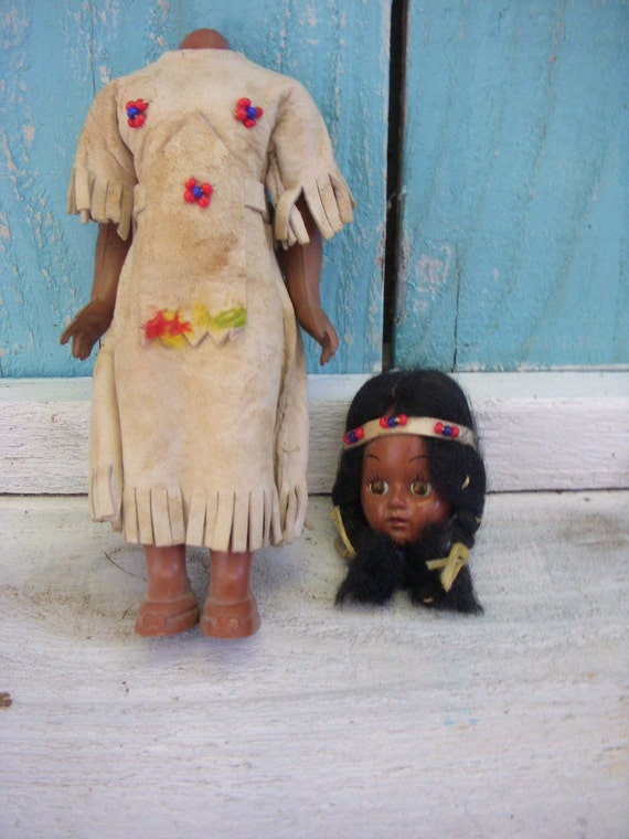 Broken Doll - Native American - Indian Doll - Headless - Display - Girl - Toy - Vintage