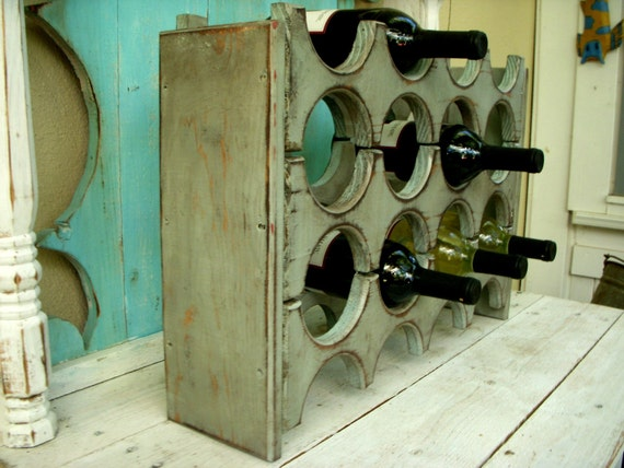 Wooden Wine Rack, Shabby - French Cottage Chic, Country, Handmade Wine Storage - Wet Bar - Home Decor - Gift Ideas - Wood Storage - Kitchen
