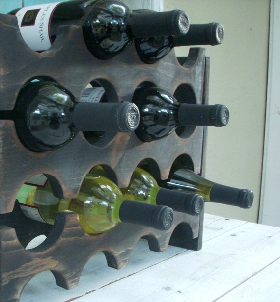 Wine Rack - Holds 12 Bottles - Handcrafted of Wood - Rustic Home Decor - Country Cottage - Shabby Kitchen - Modern - Industrial - Storage