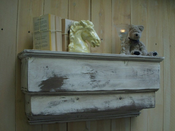 Wall Shelf Wood, Handmade, Shabby Cottage - 31 Inches