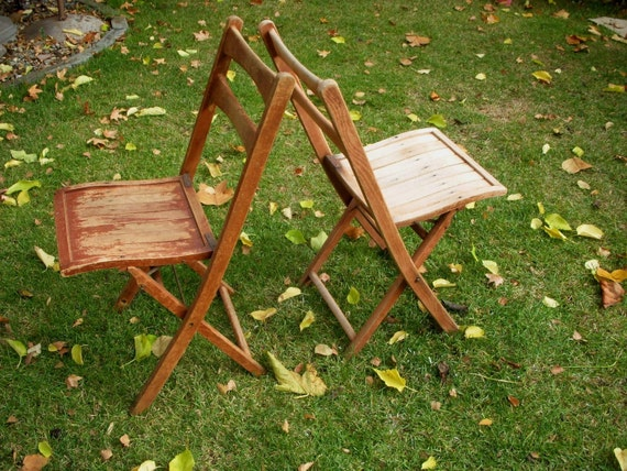 Antique Wood Folding Chair, Shabby Cottage, French Country, Paris Apartment