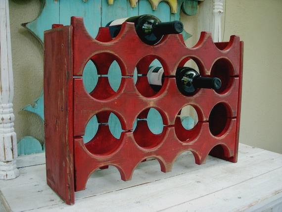 Wooden Wine Rack - Handcrafted - Holds 12 Bottles - Wine Bar Storage - Kitchen - Dining Room - Wet Bar - Wedding Gift Ideas - Rustic Home