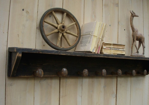 """Railroad Spike Shelf - Wood - Reclaimed Wood - Shelving - Entryway - Rustic, French Cottage, Home Decor, Railroad Spikes - 40"""" 7 Spikes"""