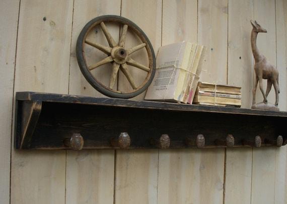 "Railroad Spike Shelf - Entryway Storage - Wood Coat Rack - Organize - Rustic Wooden Shelf - Spikes - Handmade - Shabby Cottage - 72"" Long"