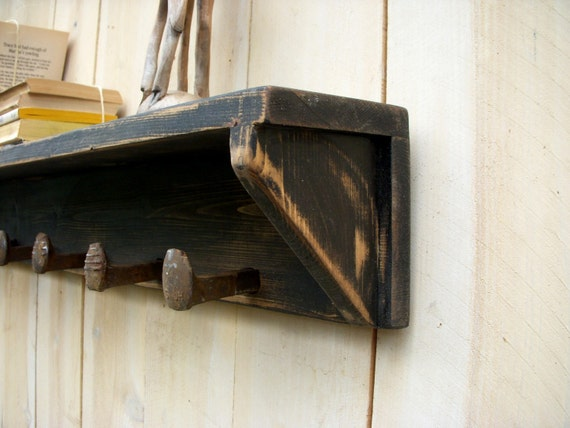 Wood - Rustic Shelf, Railroad - Spikes, Handmade - Shabby Cottage - 72 Inches Long