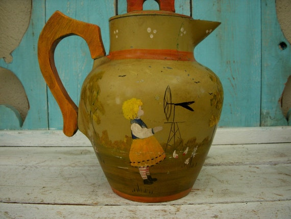 Vintage - Hand Painted - Metal - Jug - Pitcher - Boho Chic - Rustic Home Decor - Decorative - Green - Dutch Girl - Netherlands