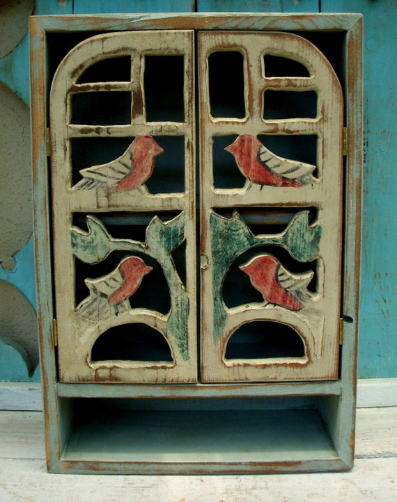Woodland Cabinet - Bird - Rustic Wooden Furniture - Shabby Cottage, French Country - Song Birds - 20 x 12 x 5.5