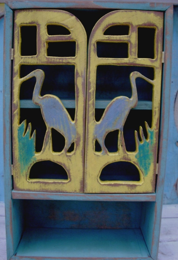 Handmade Wood Cabinet Blue Herons - shabby, rustic, french country, paris apartment