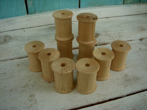 Lot of 10 - Vintage - Wooden Spools - Doll - Craft - Supplies