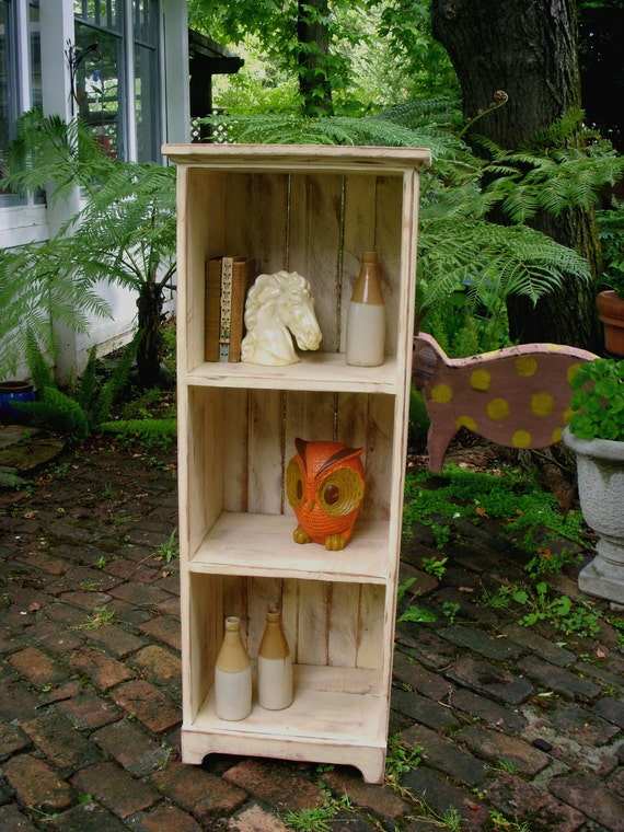 "Wooden Shelf - Cabinet - Rustic - Shabby - Storage Shelves - Bookcase - Bookshelf - Entryway Furniture - 48"" Tall x 12.5"" Deep x 18"" Wide"