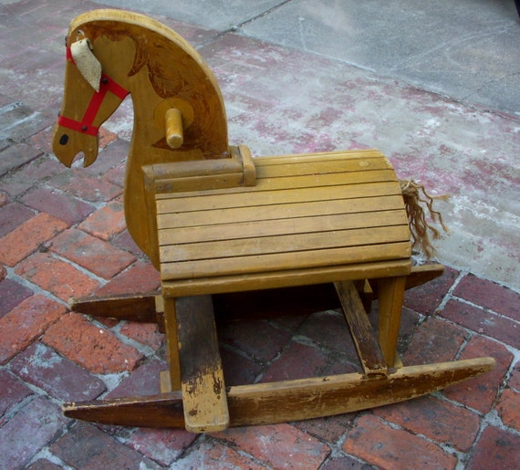 Rustic Home Decor - Vintage Wooden Rocking Horse - Comfortable and Very Sturdy Children's Toy - LOCAL ONLY