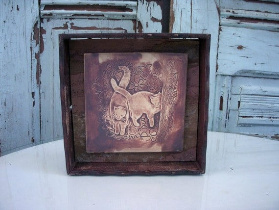 Rustic - Kitty Love Mouse - Handcrafted Tile Wall Hanging - Re-purposed Antique Frame