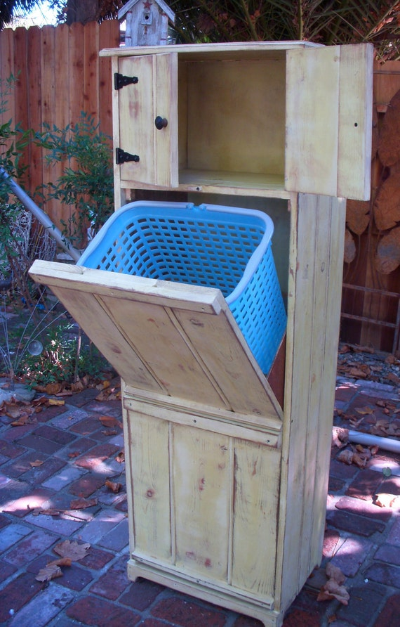 Wooden Furniture - LOCAL ONLY - Handmade - Laundry Hamper - Trash Bin Recycling - Eco Chic - Storage Solution - Laundry Room - Storage Bin