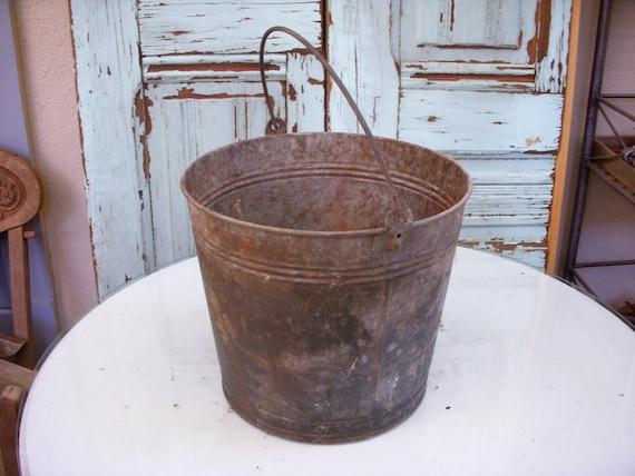 Old Antique Bucket, Shabby, vintage metal antique rustic, farm flowers, planter, pail