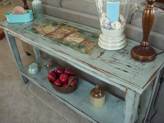 Wood Sofa Table - Shabby - Beach Cottage - Chic Furniture - Wooden Buffet Table - Reclaimed Wood