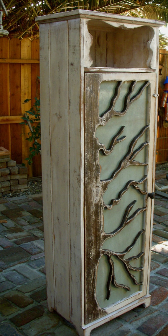 Rustic Decor - Cabinet - Wood Furniture - Oak Tree Art- Storage Shelves, Shabby Cottage