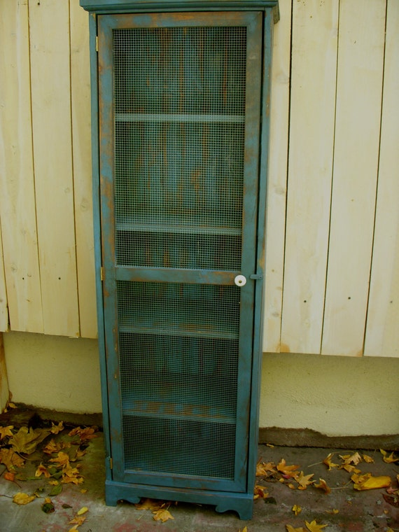 Shabby Furniture Pie Safe Cabinet Bookcase By Honeystreasures