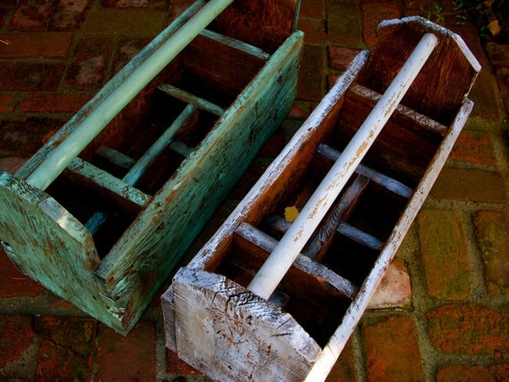 Wood Tool Caddy Box - Divided - Shabby, French Country - Handmade Reclaimed Wood
