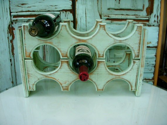 Handmade Wooden Wine Rack - Holds 6 Bottles - Handcrafted of Wood - Dining Room Storage - Kitchen Wine Bar - Wedding Gift Ideas - Wet Bar