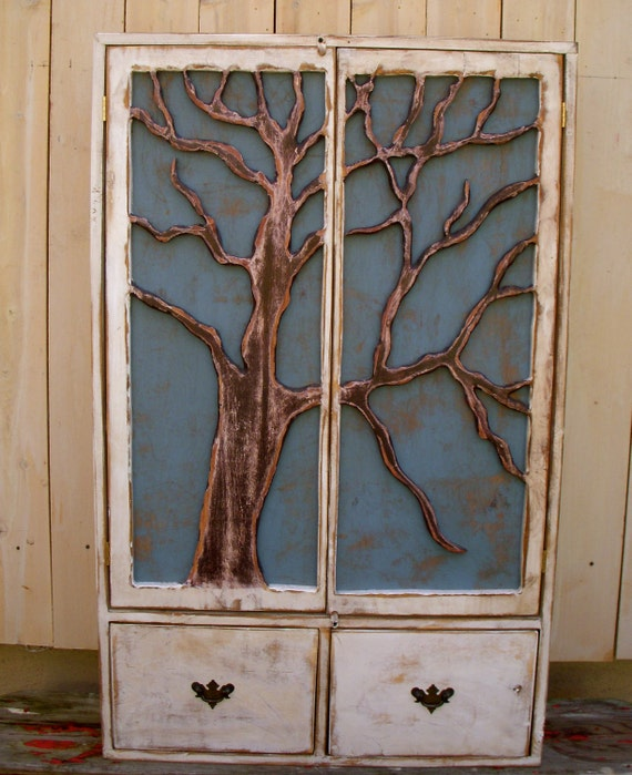 LOCAL ONLY - Rustic - Furniture - Shelf - Oak - Tree Cabinet - Artistic Furniture - Storage Shelves, Shabby - Cottage Chic, French Country