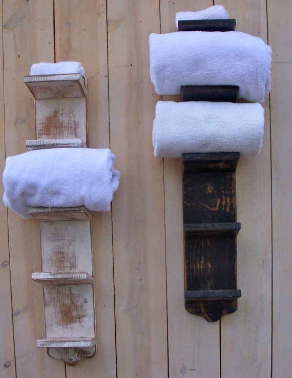 Bath Towel Holder - Bathroom Decor - Wood - Shabby Decor - Beach - Cottage Chic