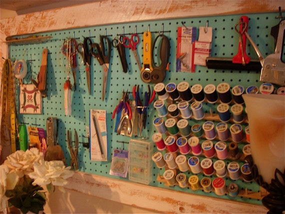 Wood Framed Pegboard - Craft - Art Supply Storage - Sewing Room Organizing
