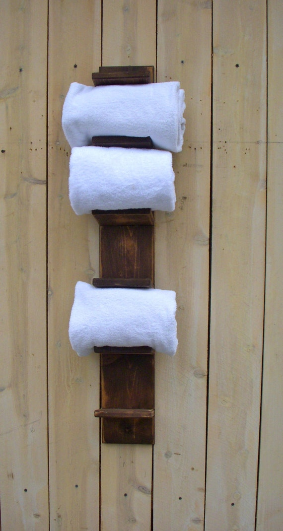 Handmade towel rack bath decor wood shabby by honeystreasures for Bathroom decor etsy