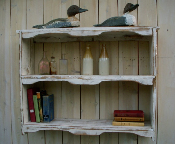 Hanging Wood Shelf - Shabby Furniture, Chic Cottage, French Country, The Nora Shelf - Antique Color Choice