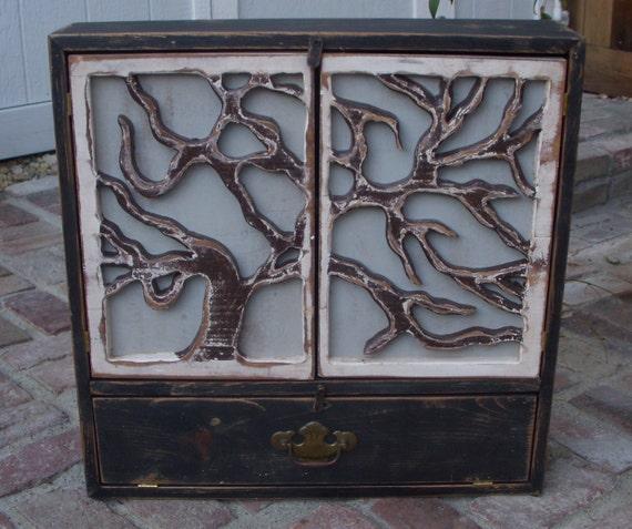 Tree Art - Wood Cabinet - Cabinet - Oak Tree Door Artistic Furniture - Storage - 24 x 24 x 5.5 deep