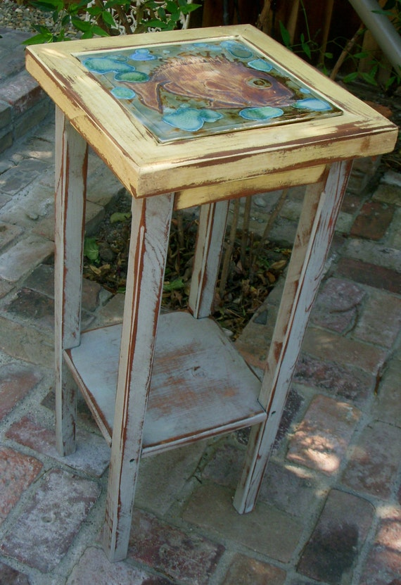Handmade Wooden Furniture - Accent Table - Shabby - Cottage Chic - Wood - Side - End - Home Decor - Fish Tile - Unique - Honeystreasures