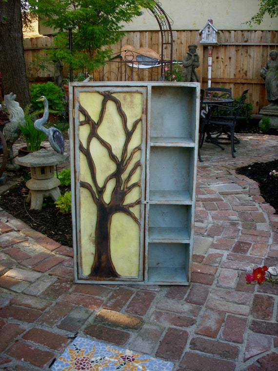 Wood Furniture - Shelf - Rustic - Oak Tree Cabinet - Artistic Furniture - Storage Shelves -  Honey's Treasures