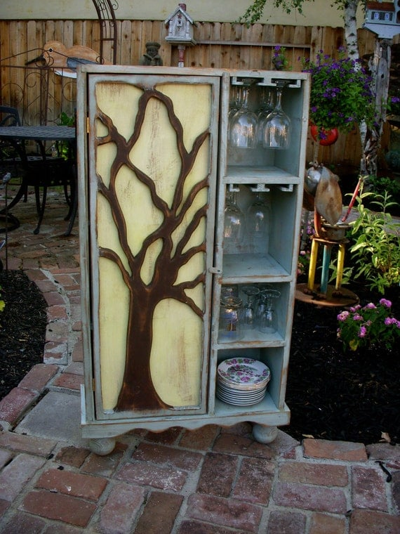 Wood Wine Rack - Rustic Furniture - Oak Tree Cabinet - Artistic - Storage - French Country - Gift Ideas - Artsy Furniture - Wine Bar