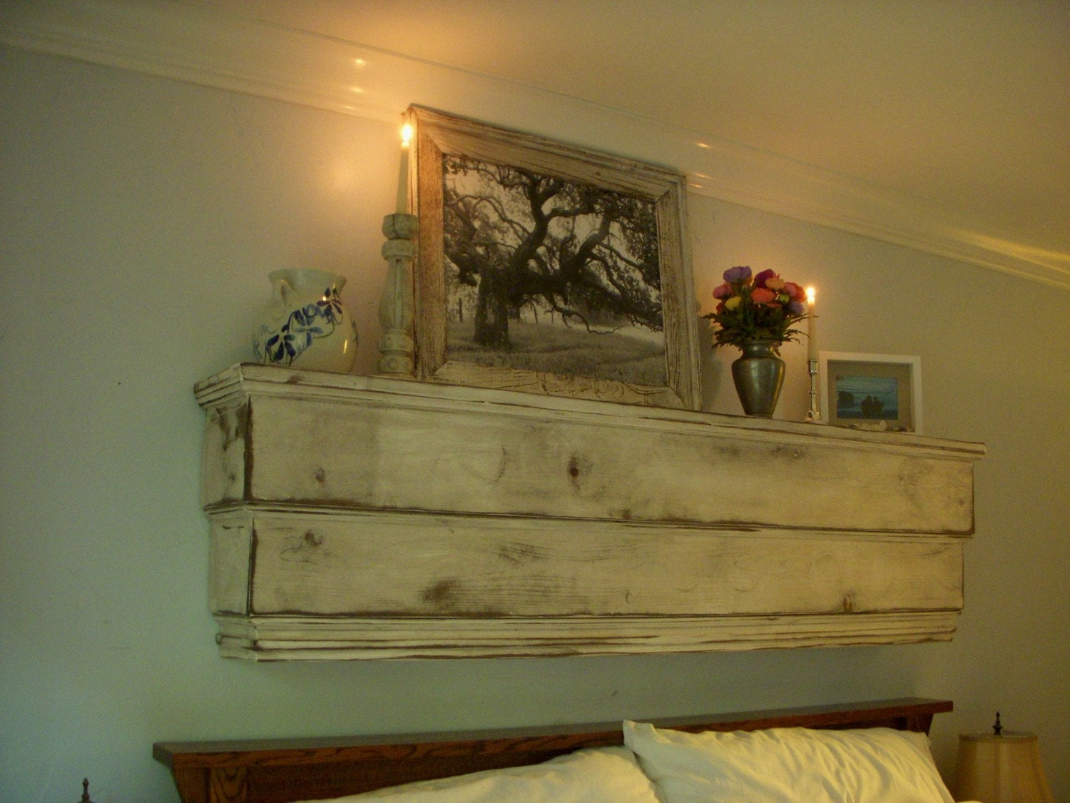 Wood Wall Shelves ~ Floating wall shelf wooden ledge handmade shabby