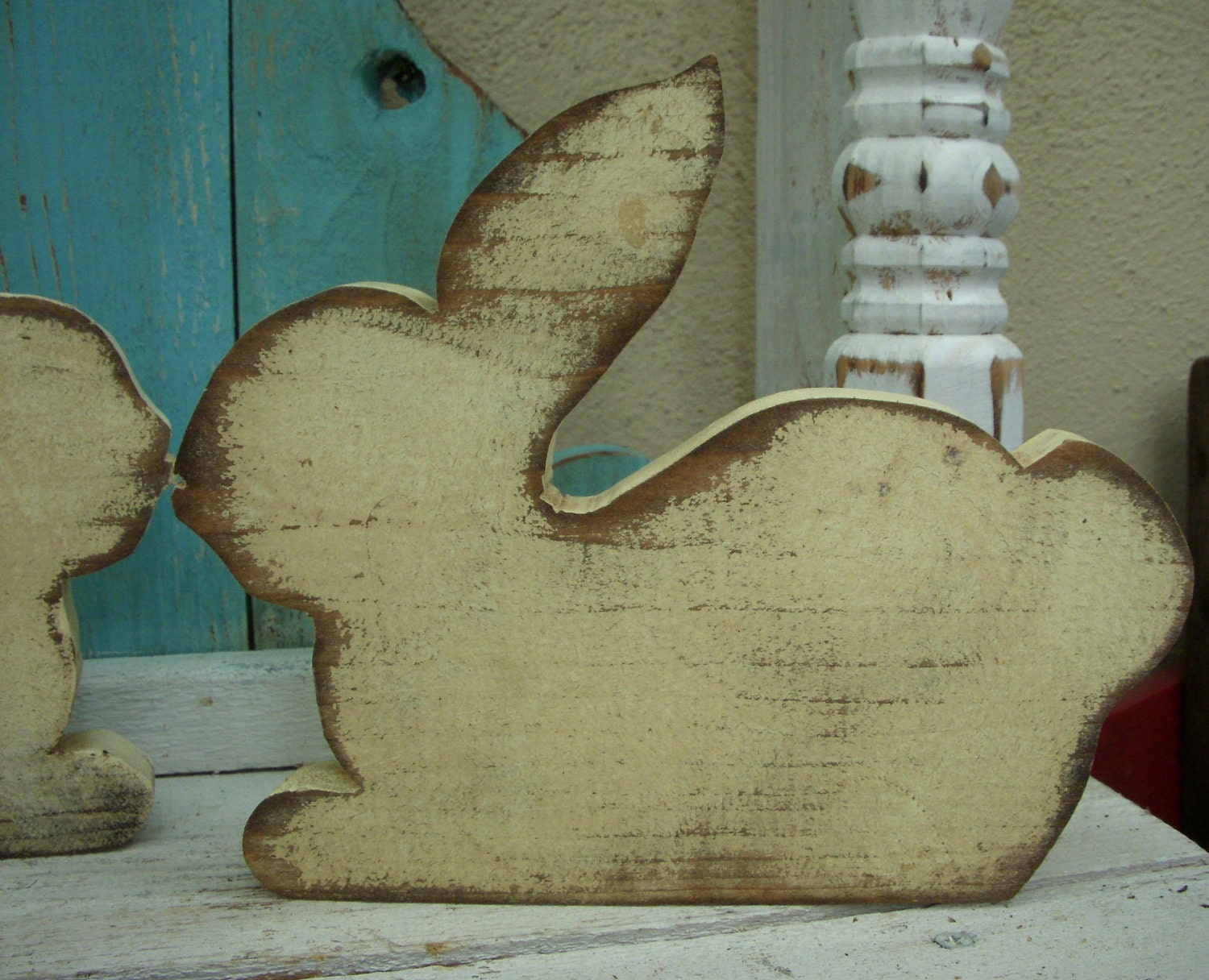 Wood rabbit bunny home decor rustic wood pine wood for Rabbit decorations home