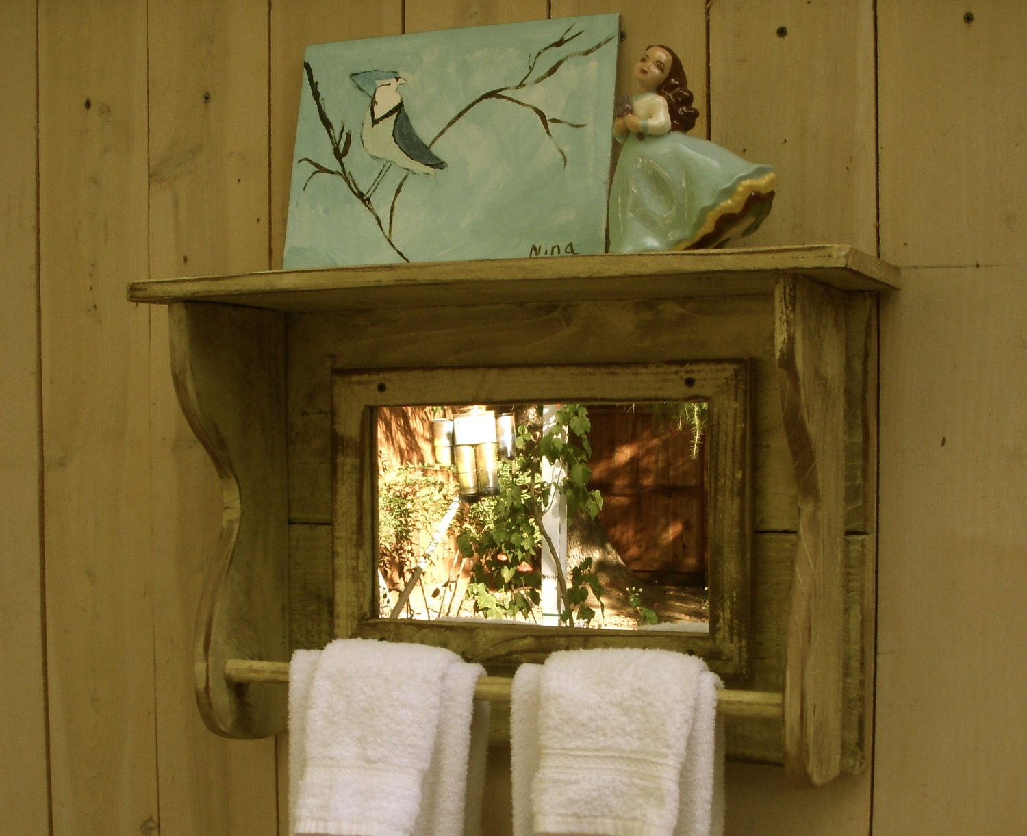 Very Impressive portraiture of Mirror Shelf Reclaimed Wood Towel Bar for by honeystreasures with #402F0B color and 1500x1221 pixels