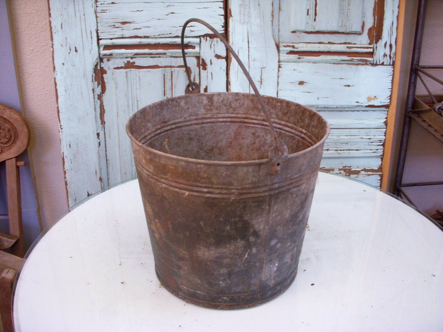Uncategorized Vintage Metal Bucket antique bucket shabby vintage dented metal  antique