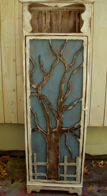 Wood Furniture Shelf Cabinet Oak Tree Artistic Door