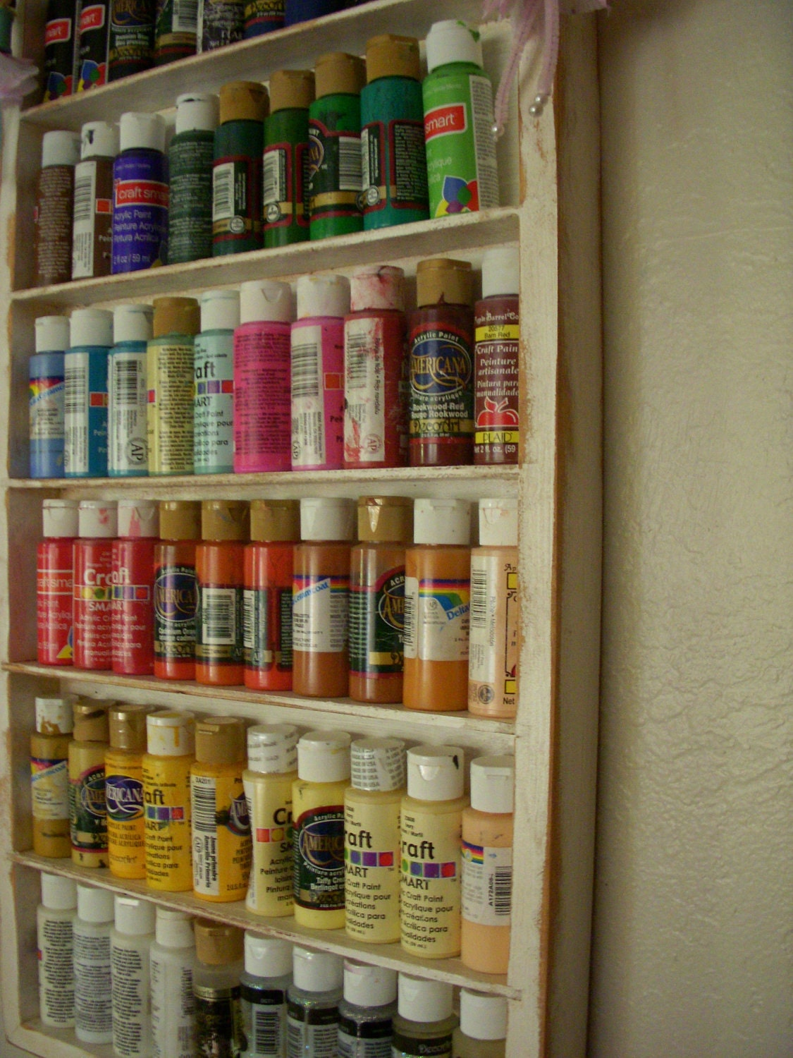 Organize paint room wood shelf craft art supply for How to store craft supplies