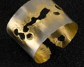 distressed wide sterling silver/gold plated cuff DR-327
