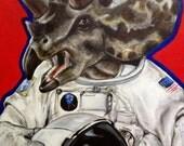 Prehistoric Astronaut Space Dinosaur Triceratops Original Art Acrylic Painting