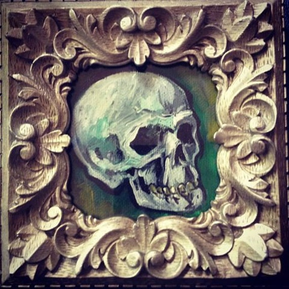 Spooky Little Tiny Skull Painting Original Artwork Acrylic Painting Macabre with FRAME