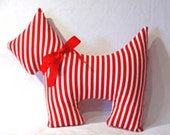 Red Stripe Scottie Dog Pillow Front page Etsy So Cute Your Choice of Color and Pattern