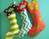 CHRISTMAS STOCKINGS, PERSONALIZED Matching Family Holiday Stockings, Bright Whimsical Fun