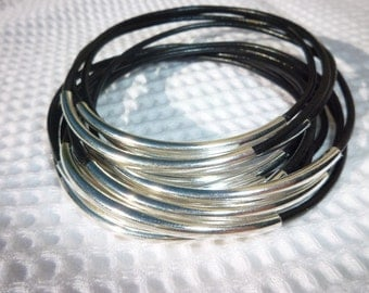 Set of 12 Black Leather Bangle Bracelets