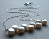 AUTUMN SALE FREE SHIPPING - Quiet - Freshwater Pearl Sterling Silver Necklace