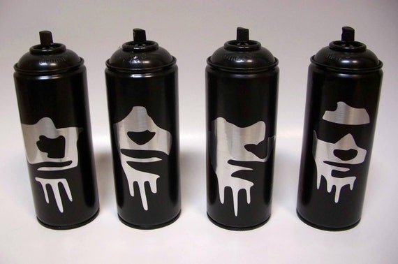 4 Empty Spray Paint Cans of The Ramones Johnny Joey Dee Dee Tommy Ramone Faux Stainless Steel