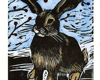 Bunny Linocut